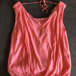 Alice and olivia open back coral blouse